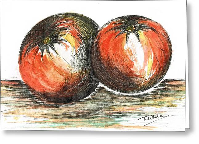 Spaghetti Greeting Cards - Juicy Tomatoes Greeting Card by Teresa White
