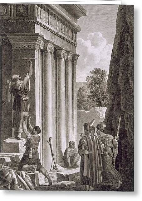Inspecting Greeting Cards - Tomb Of Absalom, Valley Of Jehosophat Greeting Card by Louis Francois Cassas