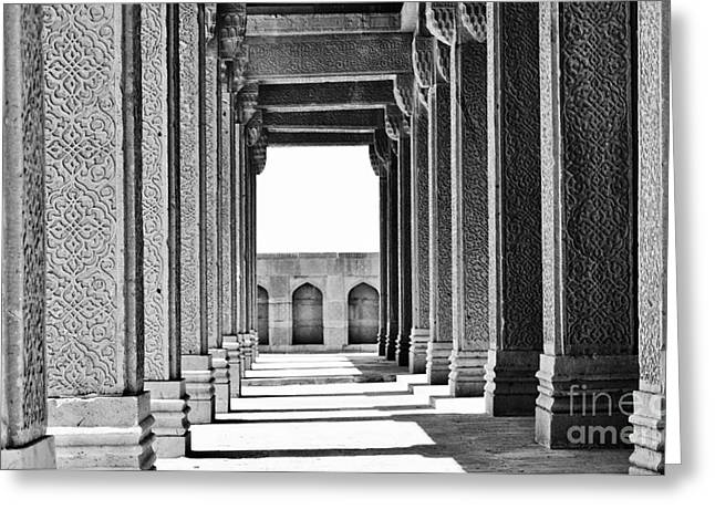 Perspective Pyrography Greeting Cards - Tomb of Jam Nizam - Makli Necropolis Greeting Card by Bilal Aftab