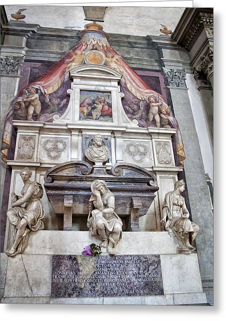 Masters Photographs Greeting Cards - Tomb of Michelangelo Greeting Card by Melany Sarafis