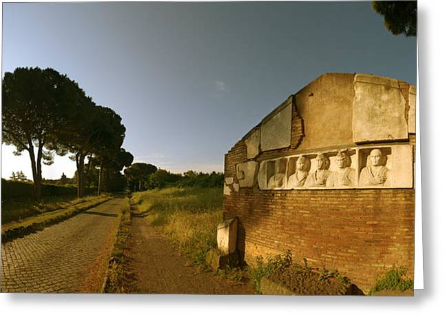 Stone Memorial Photography Greeting Cards - Tombs And Umbrella Pines Along The Via Greeting Card by Panoramic Images