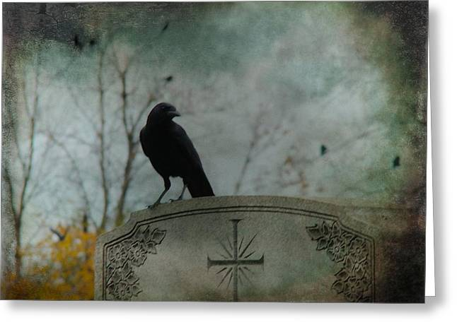 Gothicrow Greeting Cards - Tombstone Crow Greeting Card by Gothicolors Donna Snyder