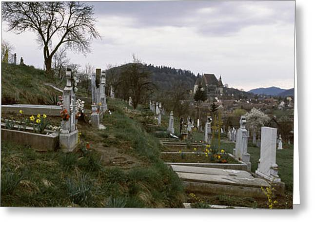 The Hills Greeting Cards - Tombstone In A Cemetery, Saxon Church Greeting Card by Panoramic Images