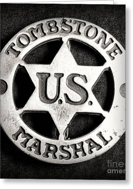 Law Enforcement Greeting Cards - Tombstone - US Marshal - Law Enforcement - Badge Greeting Card by Paul Ward