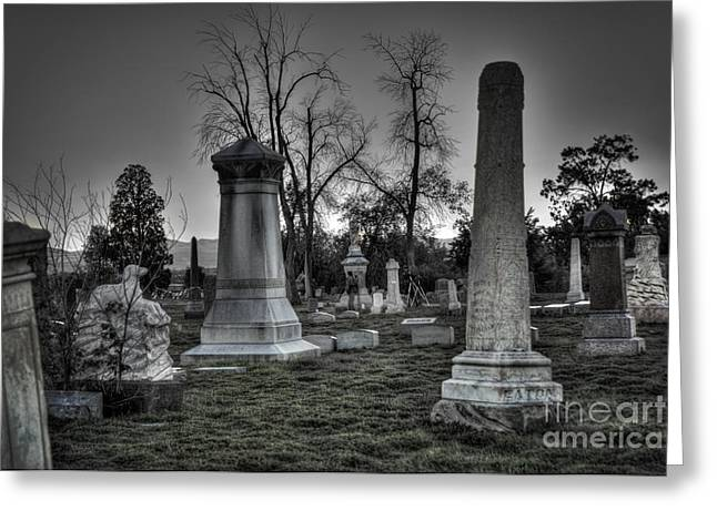 Historic District Greeting Cards - Tombstones and Tree Skeletons Greeting Card by Juli Scalzi