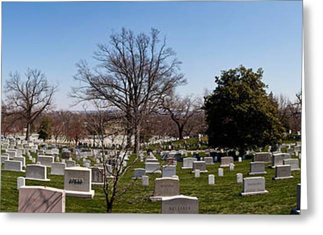 National Cemetery Greeting Cards - Tombstones In A Cemetery, Arlington Greeting Card by Panoramic Images