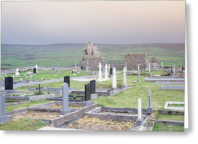 Clare Greeting Cards - Tombstones In A Cemetery, Poulnabrone Greeting Card by Panoramic Images