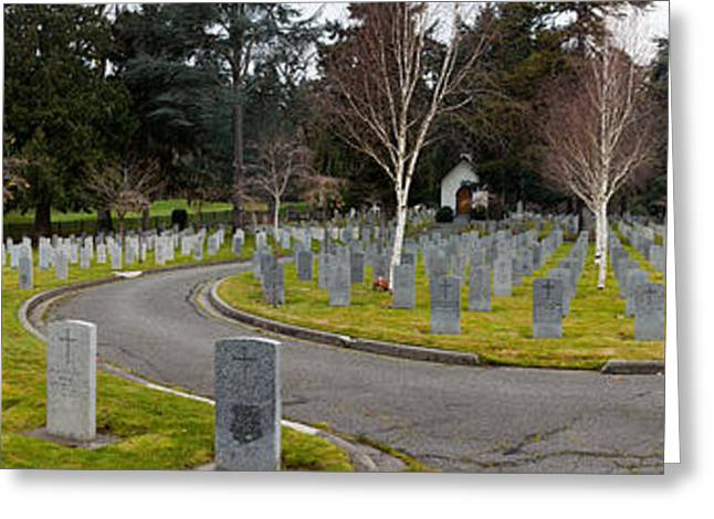 British Columbia Greeting Cards - Tombstones In A Veterans Cemetery Greeting Card by Panoramic Images
