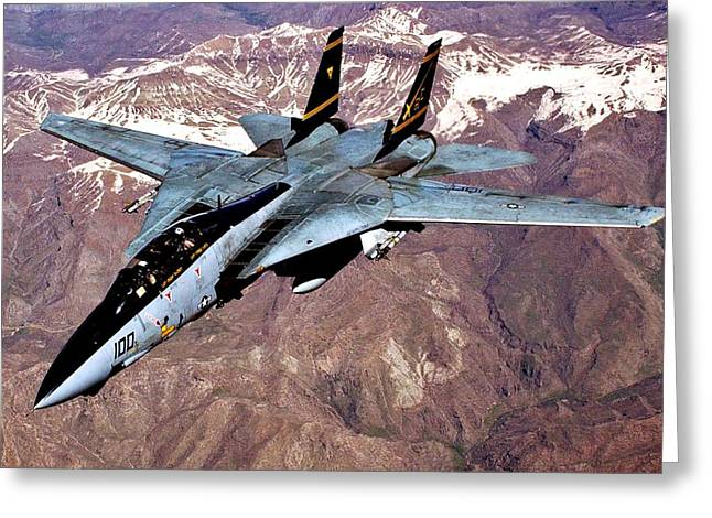 Iraq Greeting Cards - Tomcat over Iraq Greeting Card by Benjamin Yeager