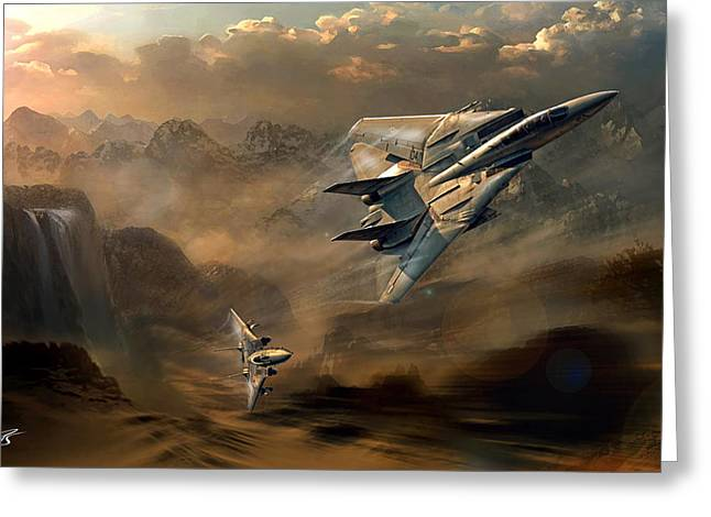 Wwi Greeting Cards - Tomcats at dusk Greeting Card by Peter Van Stigt