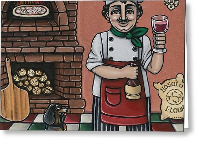 Tommys Italian Kitchen Greeting Card by Victoria De Almeida