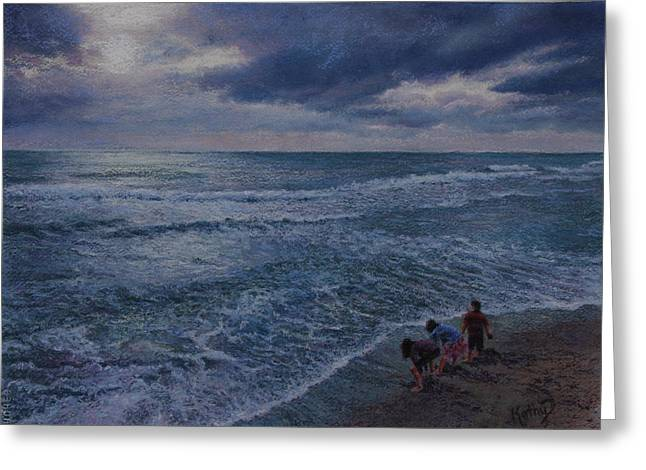 Blue Green Wave Greeting Cards - Tomorrow Beckons Greeting Card by Kathy Dolan