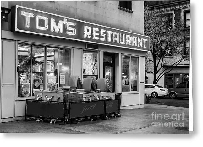 Morningside Heights Greeting Cards - Toms Restaurant bw Greeting Card by Jerry Fornarotto