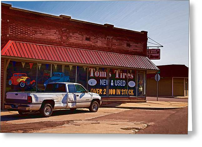 Storefront Digital Greeting Cards - Toms Tires Greeting Card by Angie Rayfield