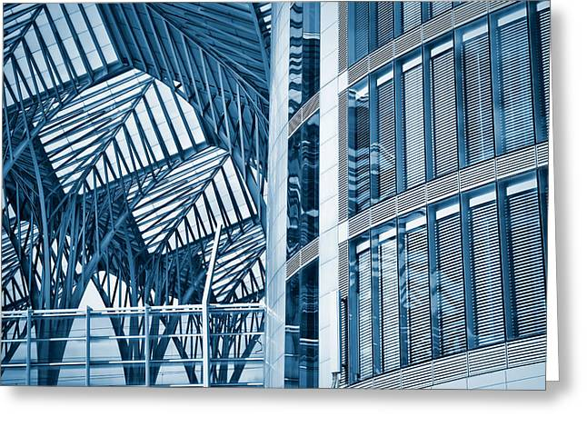 Glass Wall Greeting Cards - Toned image of modern office buildings Greeting Card by Joel Vieira