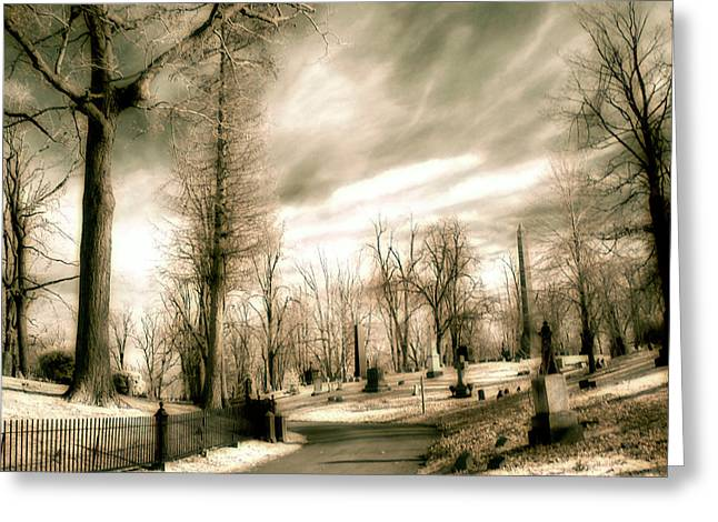 Graveyard Road Greeting Cards - Toned Infrared Graveyard  Greeting Card by Gothicolors Donna Snyder