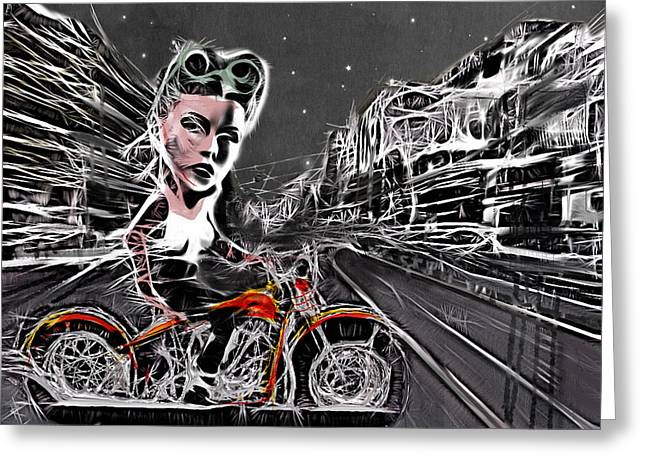 Motorcycles Mixed Media Greeting Cards - Tonight We Ride Greeting Card by Russell Pierce
