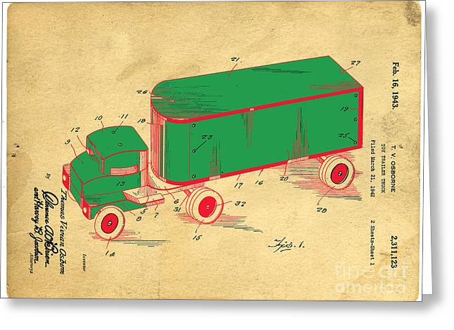 Toys Greeting Cards - Tonka Truck Patent Greeting Card by Edward Fielding