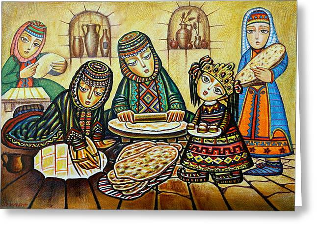 Armenia Greeting Cards - Tonri Lavash Greeting Card by Sevada Grigoryan