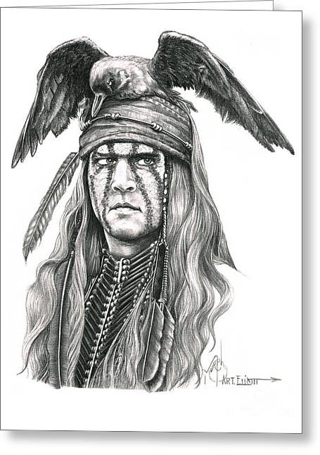 Amazing Drawings Greeting Cards - Tonto Greeting Card by Murphy Elliott