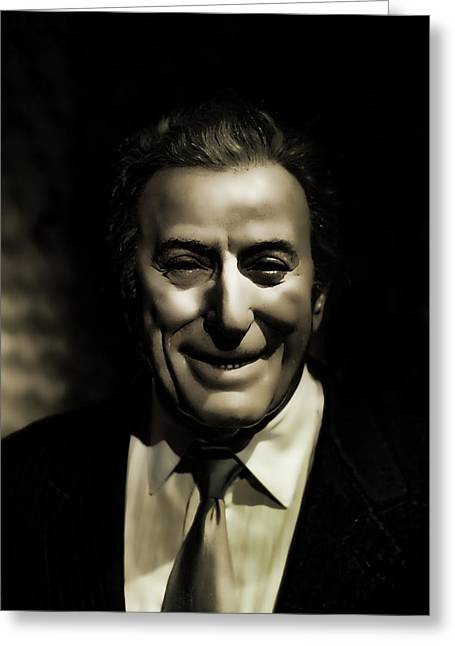 Thank You In Italian Greeting Cards - Tony Bennett Greeting Card by Lee Dos Santos