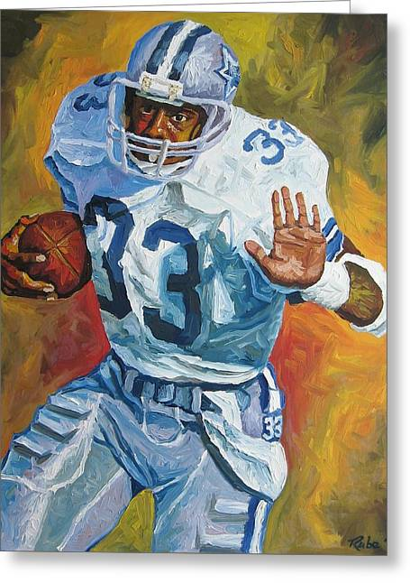 National Football League Paintings Greeting Cards - Tony Dorsett - Dallas Cowboys  Greeting Card by Mike Rabe