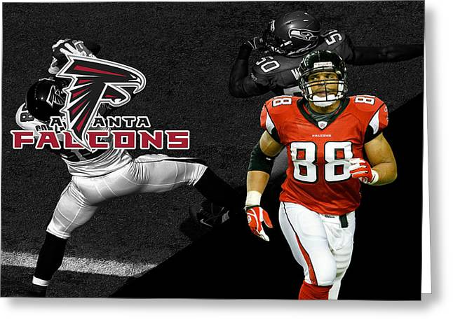 Tony Gonzalez Falcons Greeting Card by Joe Hamilton