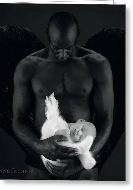 Body Photographs Greeting Cards - Tony holding Annabelle Greeting Card by Anne Geddes