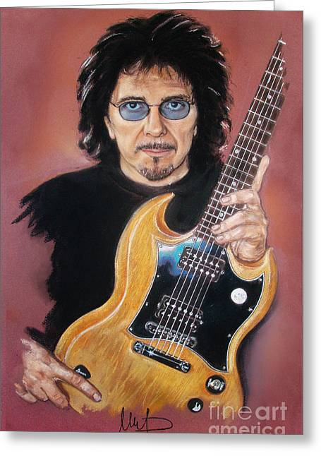 Hard Rock Mixed Media Greeting Cards - Tony Iommi Greeting Card by Melanie D