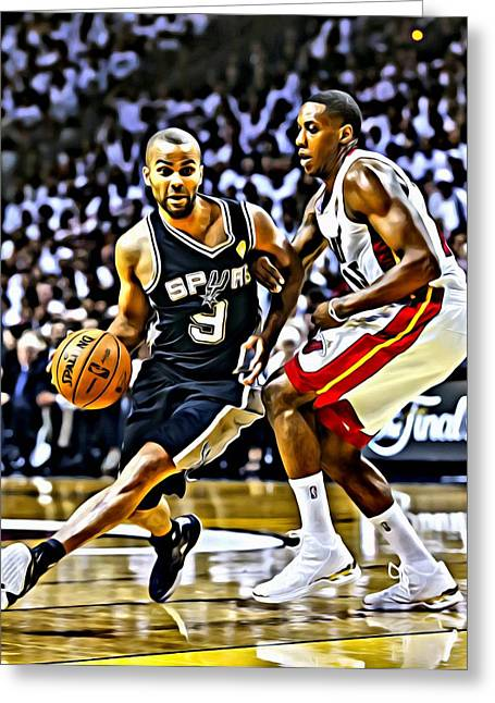 Best Sellers -  - Slamdunk Greeting Cards - Tony Parker Painting Greeting Card by Florian Rodarte