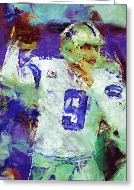 Pro Football Digital Greeting Cards - Tony Romo Abstract 2 Greeting Card by David G Paul