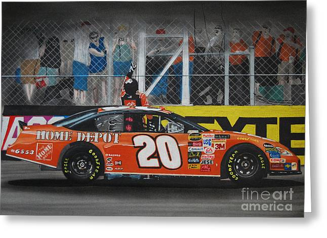 Tony Stewart Climbs for the Checkered Flag Greeting Card by Paul Kuras