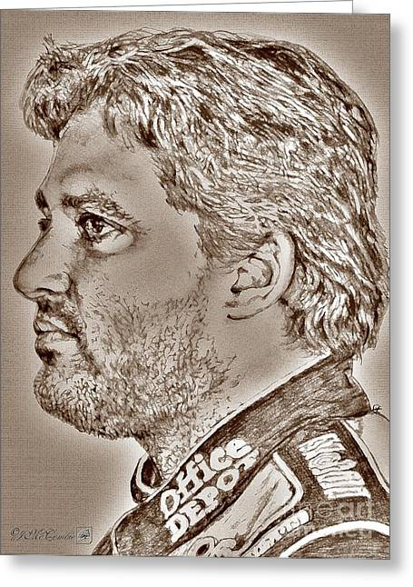 Rookie Of The Year Greeting Cards - Tony Stewart in 2011 Greeting Card by J McCombie