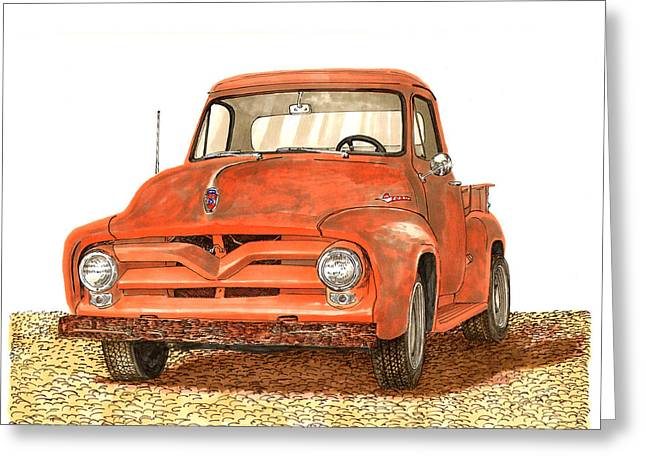 1955 Paintings Greeting Cards - Tonys 1955 Ford F-100 Pick Up Greeting Card by Jack Pumphrey