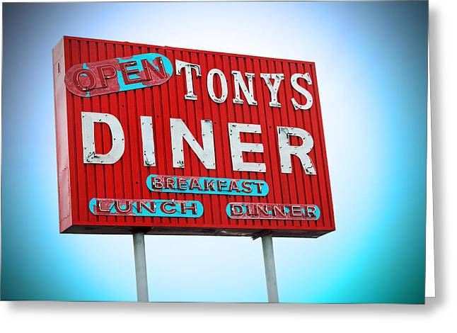 Nostalgic Sign Greeting Cards - Tonys Diner Greeting Card by Charlette Miller