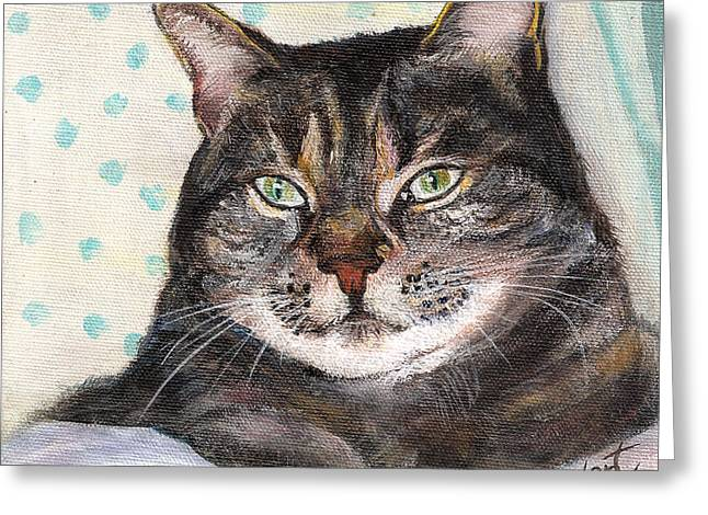Tabby Greeting Cards - Tonys Grey Tabby Cat Greeting Card by Penny Stewart