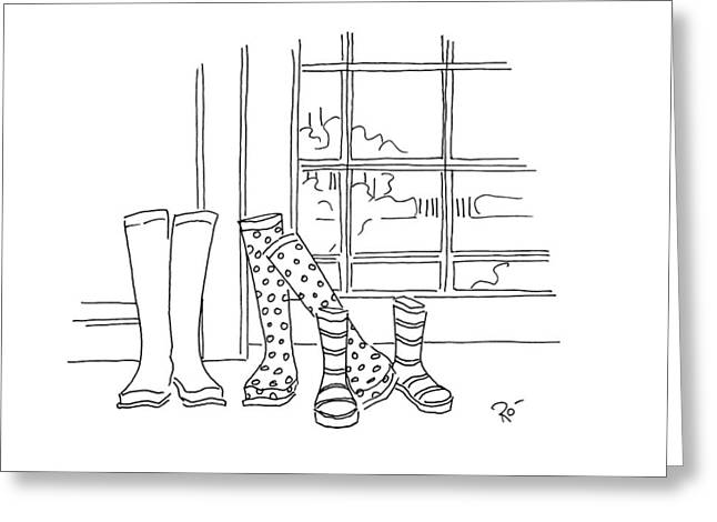 Muck Drawings Greeting Cards - Too big for your boots Greeting Card by Roisin O Farrell