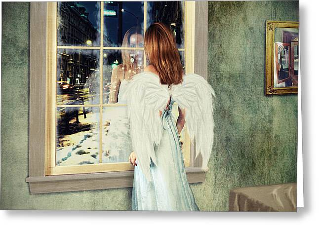 Linda Lees Greeting Cards - Too Cold for Angels to Fly Greeting Card by Linda Lees