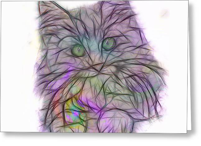 Cute Kitten Mixed Media Greeting Cards - Too Cute - Square Version Greeting Card by John Robert Beck