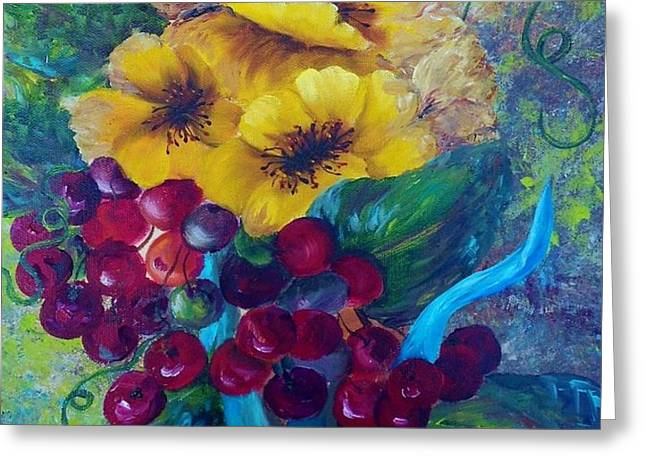 Too Delicate for Words - Yellow Flowers and Red Grapes Greeting Card by Eloise Schneider