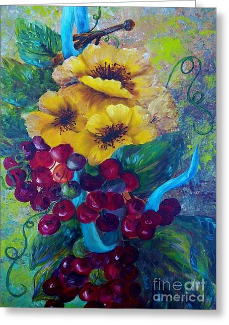 Dining Room Greeting Cards - Too Delicate for Words - Yellow Flowers and Red Grapes Greeting Card by Eloise Schneider