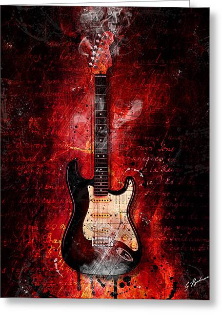 Stratocaster Greeting Cards - Too Hot To Handle Greeting Card by Gary Bodnar