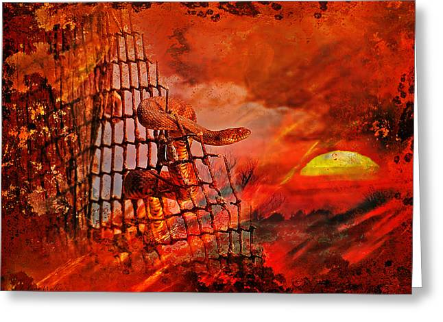 Too Hot To Handle-water Moccasin Greeting Card by J Larry Walker