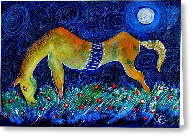 Too Long A Horse Greeting Card by Ion vincent DAnu