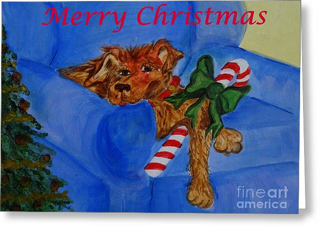 Puppies Paintings Greeting Cards - Too Much Doggie Christmas Greeting Card by Elizabeth Pritchett