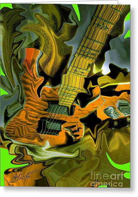 Acoustical Digital Art Greeting Cards - Too Much Vibrations DIgital Guitar Art by Steven Langston Greeting Card by Steven Lebron Langston