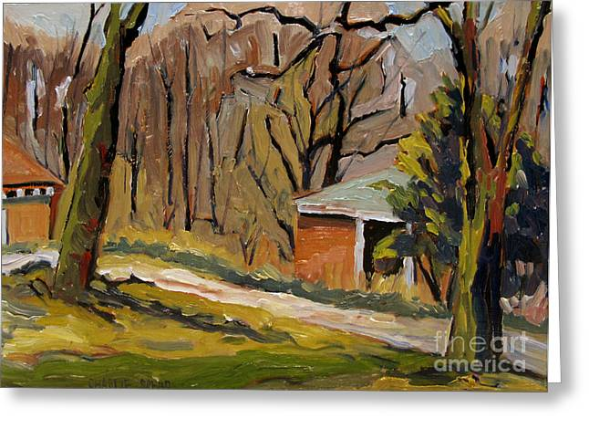 Early Spring Paintings Greeting Cards - Tool Shed Still Cold Greeting Card by Charlie Spear