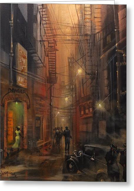 Mobsters Greeting Cards - Tooker Alley Chicago Greeting Card by Tom Shropshire