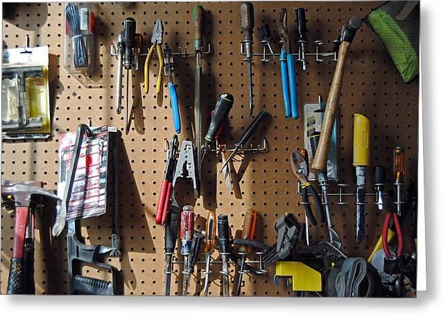 Work Bench Greeting Cards - Tool De Jour Greeting Card by Skip Willits