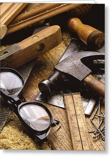 Carpenter Greeting Cards - Tools Greeting Card by Tony Cordoza